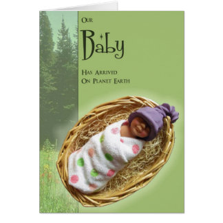 Baby Announcement: Arrived on Planet Earth: Clay Card