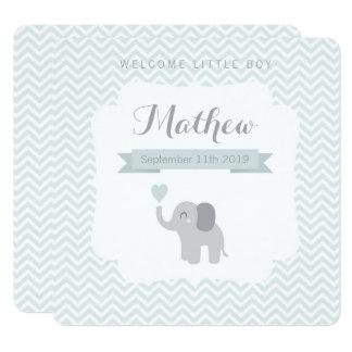 Baby Announcement Boy Elephant Chevron Heart