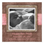 """Baby Announcement Chocolate Pink 5.25"""" Square Invitation Card"""