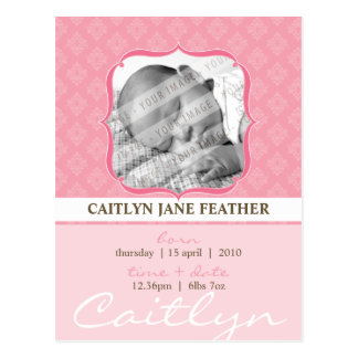 BABY ANNOUNCEMENT ::  elegantly framed 6 Postcard