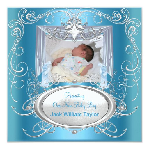 Baby Announcement New Baby Boy Blue Silver Star