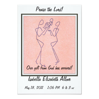 """Baby Announcement - Our Gift from God! 5"""" X 7"""" Invitation Card"""