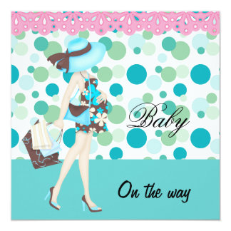 Baby Announcement Pink Blue Teal Spots