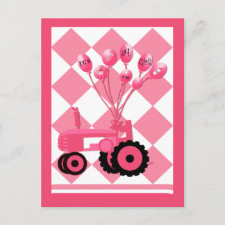 Baby Announcement Pink Tractor with Balloons