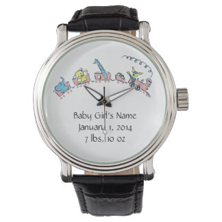 Baby Announcement Pink Train with Animals Watch