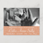 Baby Announcement Postcard Peach Floral Customize