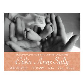 Baby Announcement Postcard Peach Floral Customize