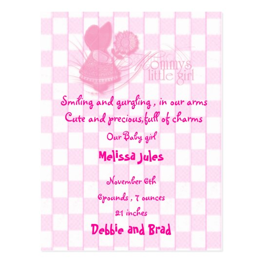 baby announcement postcard - pink