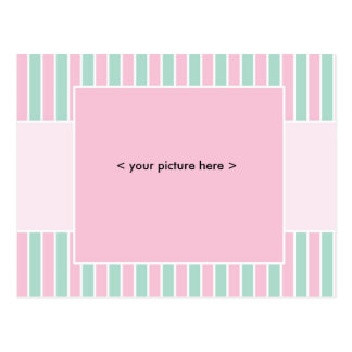 Baby Announcement Postcard - pink and green stripe