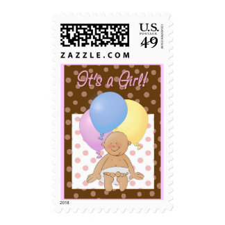 Baby announcement stamp. It's a Girl!