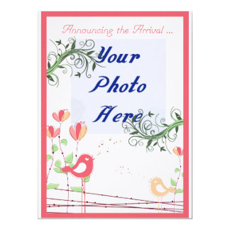 """Baby Announcement with your own photo added 6.5"""" X 8.75"""" Invitation Card"""
