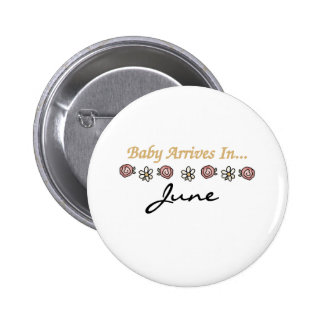 Baby Arrives in June Pinback Button