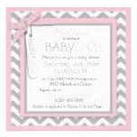 Baby Ava Pink Tutu & Chevron Print Baby Shower Personalized Invites