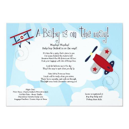 baby aviator airplane 5x7 baby shower invitation 5 x 7 invitation