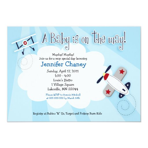 baby aviator airplane 5x7 baby shower invitation zazzle