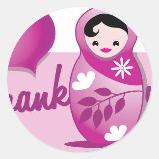 baby babushka thank you sticker