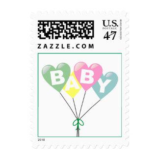 Baby Balloons Pastel Postage Green Border