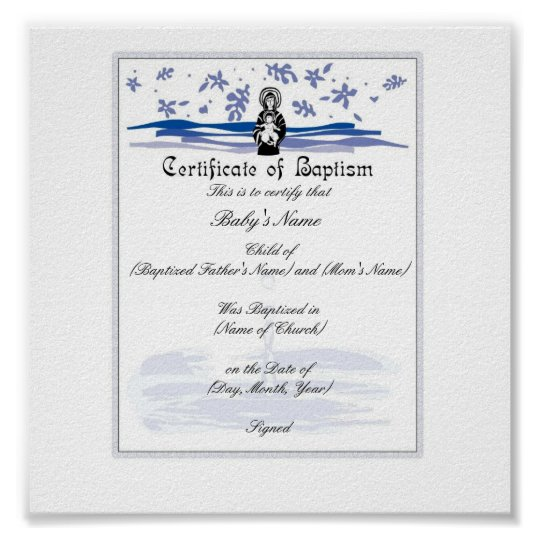 Baby Baptism Certificate Boy Poster – Baptism Certificate