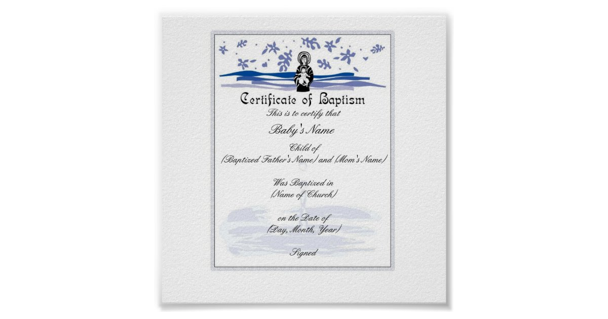 Baby Baptism Certificate Boy Poster  Zazzle