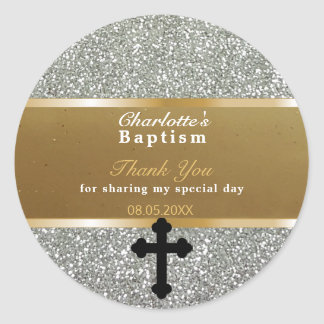 Baby Baptism Favor | Thank You Elegant Gold Silver Classic Round Sticker