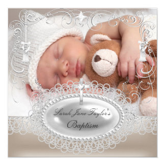 Baby Baptism Girl Boy Christening Pearl 5.25x5.25 Square Paper Invitation Card