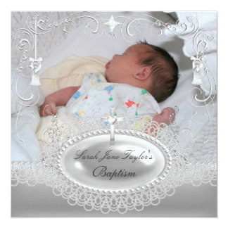 Baby Baptism Girl Boy Christening Silver Pearl 5.25x5.25 Square Paper Invitation Card