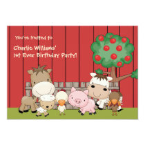 Baby Barnyard Buddies Birthday Party  Invitation