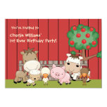 "Baby Barnyard Buddies Birthday Party  Invitation 5"" X 7"" Invitation Card"