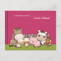 Baby Barnyard Buddies Pink Thank You Card