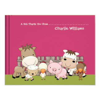Baby Barnyard Buddies Pink Thank You Card