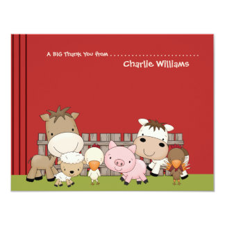 Baby Barnyard Buddies Thank You Card