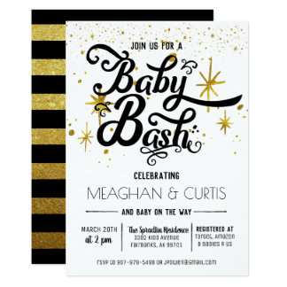 Baby Bash Invitation   Black, White & Gold