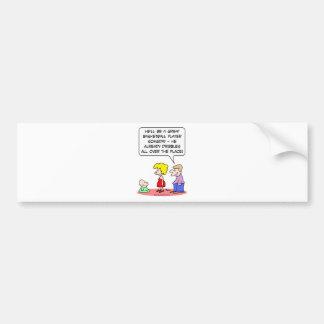 baby basketball player dribbles bumper sticker