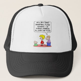 baby basketball player dribbles trucker hat