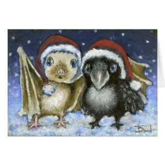 Baby bat and raven greeting card
