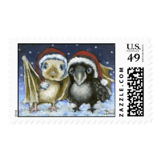Baby bat and raven postage