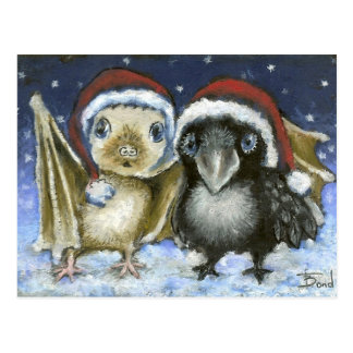 Baby bat and raven postcard