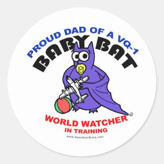 Baby Bat Dad Round Stickers