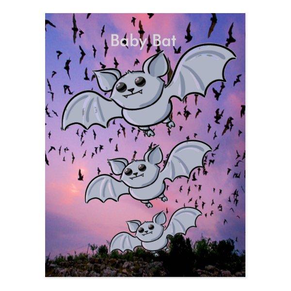 Baby Bat Flying High Postcard