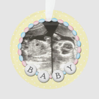 Baby Beads Photo Announcement Ornament