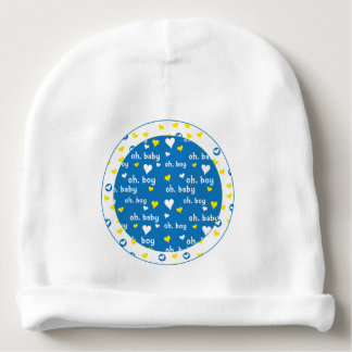 Baby Beanie/Blue/Yellow/Hearts/Oh, baby! Oh, boy! Baby Beanie