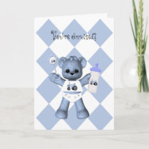 Baby Bear and Blue Tractor Shower Invitation