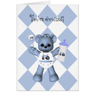 Baby Bear and Blue Tractor Shower Invitation Greeting Cards