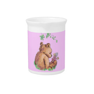 Baby Bear and Fairy in Forest ! Beverage Pitcher