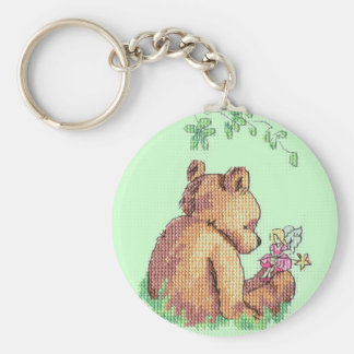 Baby Bear and Fairy in Forest ! Key Chain