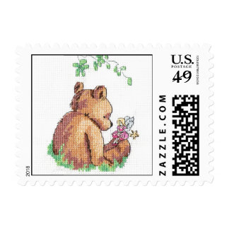 Baby Bear and Fairy in Forest ! Postage Stamp