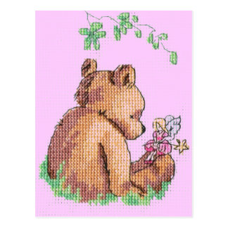 Baby Bear and Fairy in Forest ! Postcard
