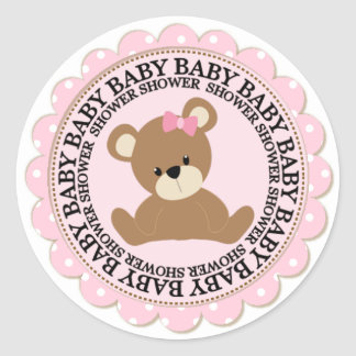 Baby Bear and Pink Polkdots Baby Shower Classic Round Sticker