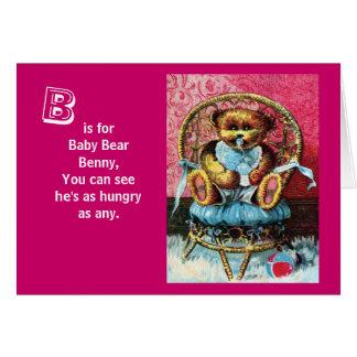 Baby Bear Benny - Letter B - Vintage Teddy Bear Card