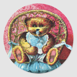 Baby Bear Benny - Letter B - Vintage Teddy Bear Classic Round Sticker